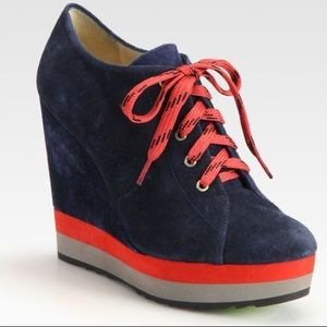 Boutique 9 blue suede red lace up wedge booties